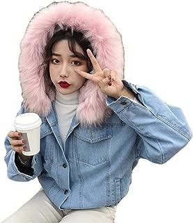YOCheerful Denim Outerwear Women Solid Warm Short Casual Coat Jacket Slim Winter Hooded Collar Coats