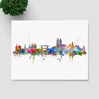 Amsterdam Skyline Art Print Painting Skyline City Nursery Amsterdam Wall Art Poster Inspirational Watercolor Art Decor No Frame P246