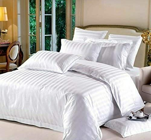 Shri Anand Creations 210 TC Glace Cotton Satin Stripes Plain Bedsheet King Size Double Bed with Two Pillow Covers for Home Hotels Guest House PGs White