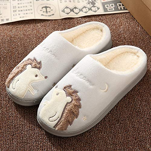 wefwef Moda N Slippers Invierno Caliente Fur Slippers Hombres Mujeres Wome Boys Boys House Zapatos Flat Heel Home Washable Memory Foam Indoor Bedroom,37