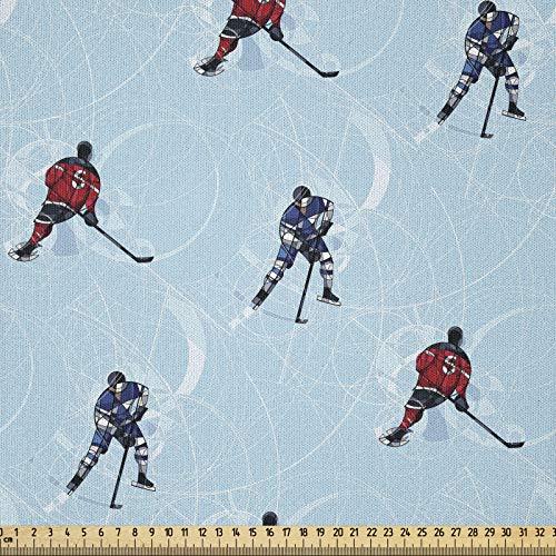 ABAKUHAUS Sport Stoff als Meterware, Eishockey-Muster Winter, Microfaser Stoff für Dekoratives Basteln, 1M (230x100cm), Schwarz Blau Rot