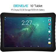 """BENEVE 10 Tablet, 10.1"""" 1920&1200 IPS Display, 2+32 GB, WiFi and Andriod System, Black - for Kids..."""