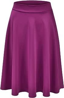 Women's Basic Versatile Stretchy Flared Casual Midi Skater Skirt (S-3XL)