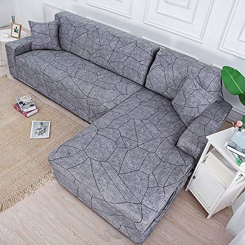 WXQY Funda de sofá elástica geométrica Simple Funda de sofá de Esquina en Forma de L Funda de sofá elástica Envuelta herméticamente combinación A19 1 Plaza