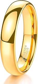حلقه باند عروسی تنگستن Shuremaster 2mm 4mm 6mm 8mm برای خانم های سیاه و سفید / طلا / گل رز / نقره ای گنبدی بالا لهستانی راحتی 4-15
