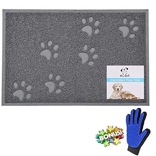 Decyam Tappeto per Toilette Gatto, Lettiera per Gatti, Tappetino Pet Food Alimentazione Impermeabile per Cani Gatti (Grey)