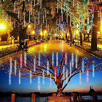 Lalapao Outdoor Christmas String Lights Solar Powered LED Meteor Shower Rain Lights Falling Raindrop Light 8 Tubes 288 LED Cascading Fairy Lights for Xmas Tree Garden Wedding Party Decor(Multi-color)