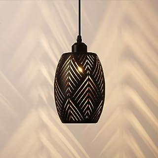 OYGROUP E27 Lámpara colgante Pantalla de metal ahuecada Accesorio de iluminación colgante rústico para entrada de la casa de campo Vestíbulo de la mesa Pasillo, negro