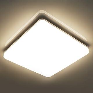 Oeegoo 18W Plafonnier LED Carré 28 CM, 1800LM Eclairage Salle de bain IP44 Étanche, Lampe de Plafond pour Chambre, Couloi...