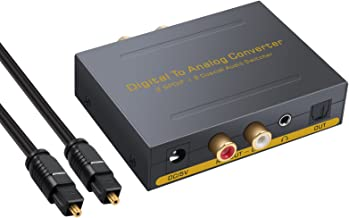 PROZOR Digital to Analog Audio Converter DAC to L/R RCA 3.5mm Audio with Optical Toslink Switcher Optical to 3.5mm Optical Out to RCA Toslink to Analog with 2 Optical SPDIF Toslink + 2 Coaxial Input