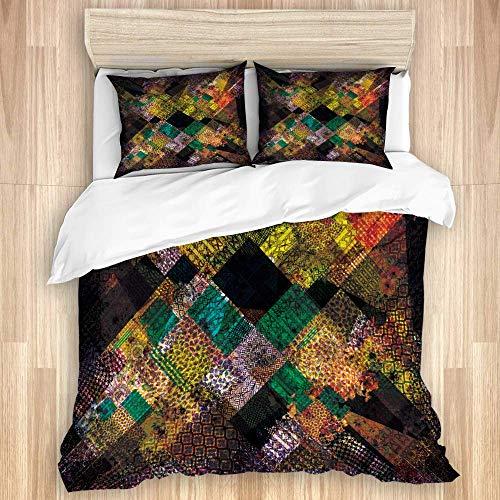 Juego de funda nórdica de 3 piezas, estampado de patchwork abstracto de colores con estampado de pañuelo floral de paisley, juegos de fundas de edredón de microfibra para dormitorio, colcha con cremal