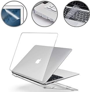 i-Buy Funda Dura Case Compatible con MacBook Air 13 Pulgadas Model A1369 A1466 (Versión 2010-2017) + Teclado Cubierta + Protector de Pantalla + Enchufe del Polvo - Cristal Claro