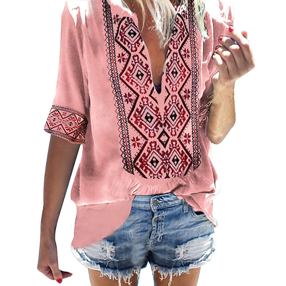 Womens T Shirts Tops Summer Half Sleeve Beach Bohe Print Tops Blouse Ethnic Style Tops T-Shirt by Gyouanime