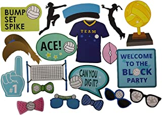 Volleyball Photo Props (32 Pieces) for Photo Booths, Birthdays, and other Volleyball Events! Our Volleyball Photo Prop Party Favors are Pre-Made (Not DIY) for Your Convenience!