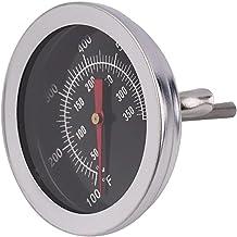 Losenlli Acero Inoxidable BBQ Smoker Pit Grill Termómetro bimetálico Medidor de Temperatura con Doble medidor 500 Grados Herramientas de Cocina