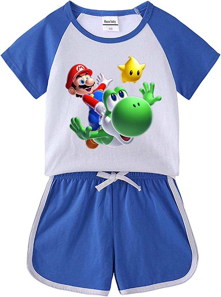 Kids Mario T-Shirts Set Boys Short Sleeve Shorts Suit Child 3D Mario Anime Tee Top 2Pcs Sets Boys Casual Pyjamas Girls Summer Sportwear Outfit
