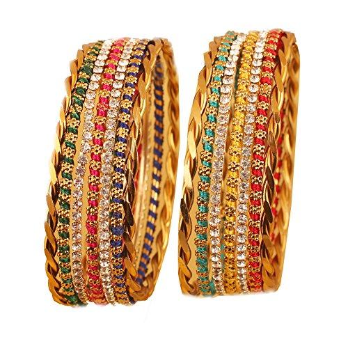 Touchstone Pulseras de diseño Tradicional de Bollywood, diseño Trenzado, 12 Unidades. En Tono Dorado Envejecido para Mujer.