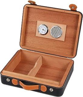 صندوق سيجار من الجلد المحمول من إكسسوارات التدخين باللون الأسود، صندوق السيجار من الخشب الصلب، صندوق سيجار متنقل ومرطب لله...