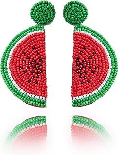 Beaded Dangle Earrings Watermelon - Oversized Handmade Summer Fruit Earrings with Colorful Drop for Women, Girls, Novelty Gifts