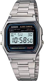 ساعة يد رقمية من كاسيو بسوار ستانلس ستيل وقرص للجنسين - [A159W-1]