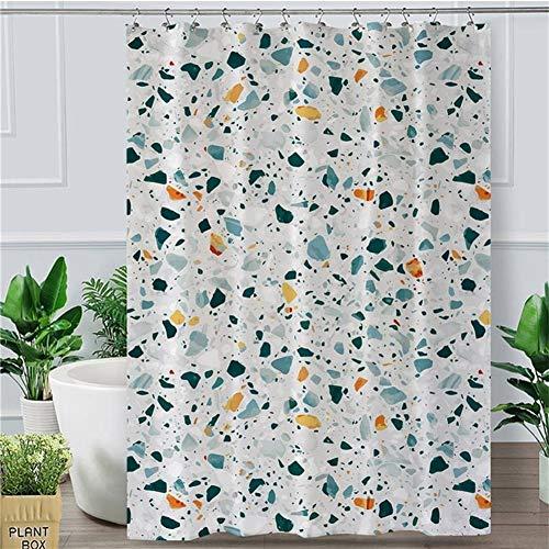 `Star Empty Shower curtain Quartznbsp;Bathroom Shower Curtain Colorful Stonesnbsp;Bath Curtain Rock Terrazzonbsp;WaterproofCurtain White With Hooks (Color : 1, Size : 180x220cm)