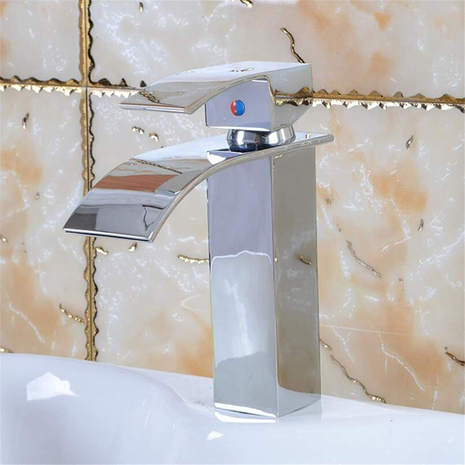 Basin Mixer Tap All Copper Super Thin Waterfall Basin Faucet Hot and Cold Bathroom golden Faucet.