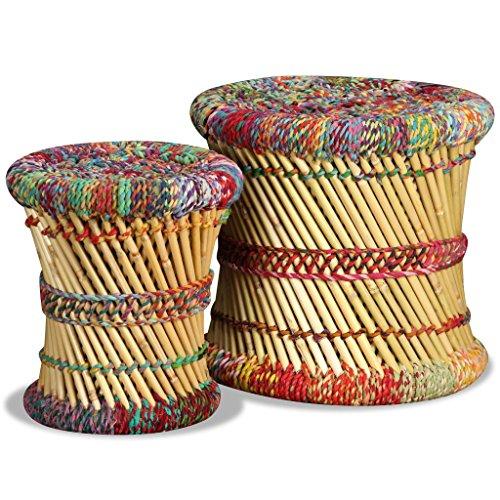 vidaXL Set Taburetes 2 Pzas Bambú Chindi Multicolor Banco Silla Asiento Mueble