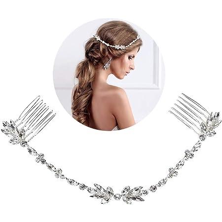 Deer Platz Fascia Sposa, Tiara Nuziale Strass Hairband, per Spettacoli, Matrimoni, Balli di Fine Anno e Compleanni, Matrimonio Serata di Festa Partit