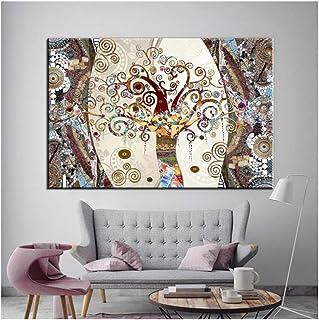 Pintura Famosa Arte de la Pared Carteles e Impresiones sobre Lienzo Pintura El árbol de la Vida de Gustav Klimt para Living Room Decor-60x80cm Sin Marco