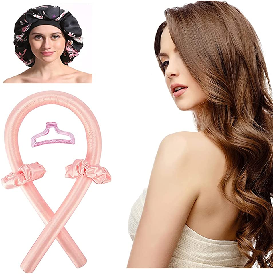 Heatless Hair Curlers Headband Plus Stain Bonnet. Curling Ribbon And Flexi Bar For Natural Hair.Long Hair Sleep All Night.The Best Choice For Women With Curly Hair.