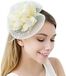 61b411fbce801 Flower Fascinator Hats Women with Veil Feather Headband Headwear Tea Party  Derby