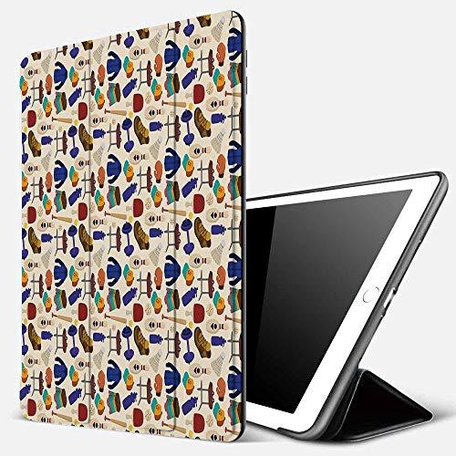Funda iPad 10.2 Inch 2018/2019,Deporte, Actividades competitivas Mercancías Patrón Pesas Abrigos Bolos Ping Pong Gimnasia, Multicolor,Cubierta Trasera Delgada Smart Auto Wake/Sleep