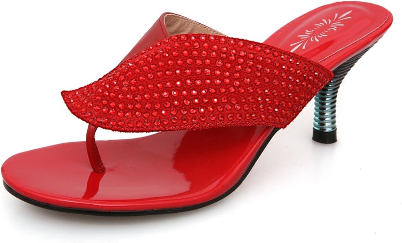 Lucksender Womens Fashion Rhinestone Mid Heel Flip-Flops Sandal Slippers