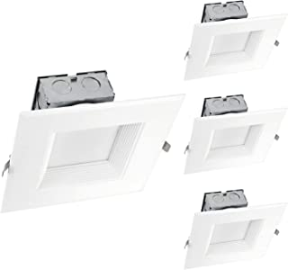 OSTWIN (4 Pack) 6 Inch Square LED Recessed Lighting Junction Box Dimmable LED Recessed Downlight IC Rated 15W (120W Repl) 4000K 1000Lm Lighting for offices, stores, hotels, ETL and Energy Star Listed