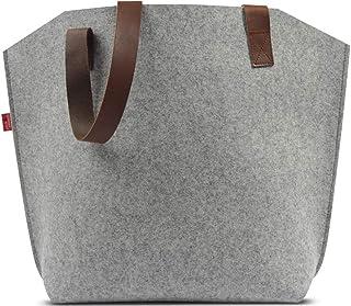 Pack & Smooch Tote Bag Shopper York 100% Merino Wollfilz Pflanzlich Gegerbtes Leder Handmade in Germany