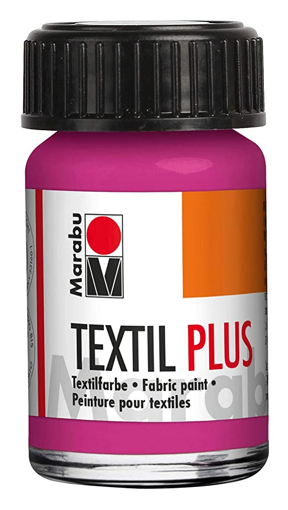 Marabu Textil Plus 17150039005 Full Coverage Fabric Paint for Dark Fabrics Suitable for Fabric Painting and Fabric Printing up to 40 °C 15 ml Raspberry