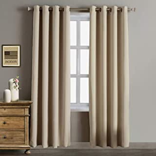 Rose Home Fashion Blackout Curtains Thermal Insulated Room Darknening Draperies 84 Inch Blackout Window Curtain Panels, 2 Pieces Blackout Curtains for Bedroom/Living Room, W52 x L84, Beige