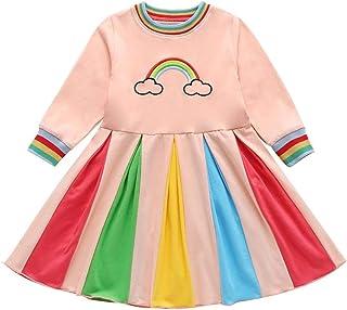 MAXIMGR Toddler Baby Girls Rainbow Print Birthday Dress Embroidery Floral Wedding Long Sleeve Dresses