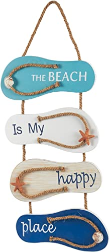 Juvale Nautical Beach Flip Flop Wall Ornament, Wooden Slippers Hanging Decoration, Ocean Home Decor for Wall and Door...