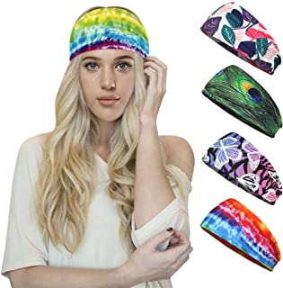 Panegy Women Sweat Absorbing Workout Headband Elastic Non Slip Wide Hair Band Headwrap for Yoga Running 4 Pcs
