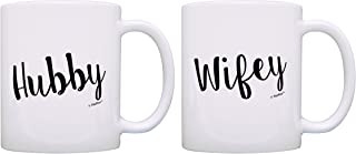 Bridal Shower Gifts Hubby & Wifey Wedding Gift Ideas 2 Pack Gift Coffee Mugs Tea Cups White