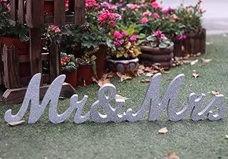 Amajoy Large Vintage Silver Glitter Mr & Mrs Wooden Letters Wooden Sign for Wedding Decoration Home Decoration Table Decoration