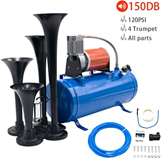 Flow.month 150DB Train Horn - 4 Trumpet Truck Horn Kit with 120PSI Air Compressor and Gauge for Vehicles Trucks Train Van Boats