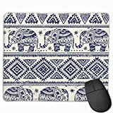 XZX2018 Novelty Indian Ethnic Elephant African Ornament 3D Printed Gaming Mouse Pad Rectangle Non-Slip Polyester Mouse Mat Vibrant Color Oversize Motivational Quotes for Work