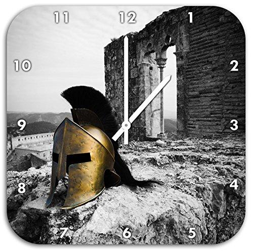 Stil.Zeit Alter Helm Einer Rüstung vor Ruine schwarz/weiß, Wanduhr Quadratisch Durchmesser 48cm mit weißen Spitzen Zeigern und Ziffernblatt