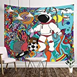 NYMB Psychedelic Tapestry, Astronaut and Aliens Trippy Space Doodle Wall Tapestry, Fantasy Tapestry Wall Hanging Blanket Home for Bedroom Living Room Dorm, 71X60IN