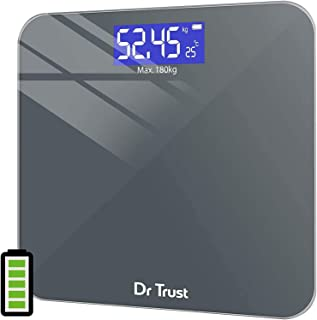 Dr Trust Electronic Platinum Rechargeable Digital Personal Weighing Scale for Human Body with Temperature Display (Gray)…