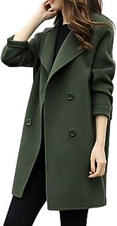 Ausexy Womens Autumn Winter Jacket Casual Outwear Parka Cardigan Slim Blazer Double Breasted Pocket Overcoat Outwear Coat Overcoat