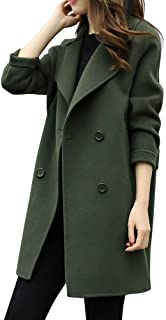 Ausexy Womens Autumn Winter Jacket Casual Outwear Parka Cardigan Slim Blazer Double Breasted Pocket Overcoat Outwear Coat Overcoat