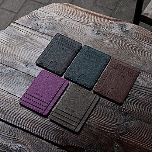Slim Minimalist Leather Wallets for Men & Women - Cross Black